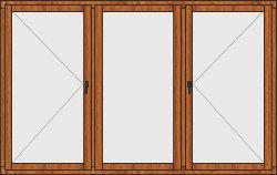 Деревянное окно трехстворчатое